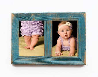 "2"" 2 hole 8x10 Barnwood Vertical Collage Ocean Blue Picture Frame - Distressed Picture Frames - Shabby Chic -"
