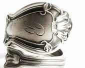 Bluebell Flower Ring, Blue Bell Ring, Sterling Silver Spoon Ring, Antique Gorham ca 1904 Portland, Engraved B, Adjustable Ring Size (6256)