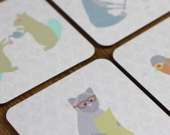 Animal Coasters set of four - cat, bird, fox and squirrel SALE ITEM!