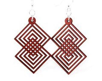 Interlocking Squares - Laser Cut Earrings from Reforested Wood