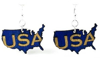 USA Earrings - Laser Cut from Reforested Wood - Made in USA