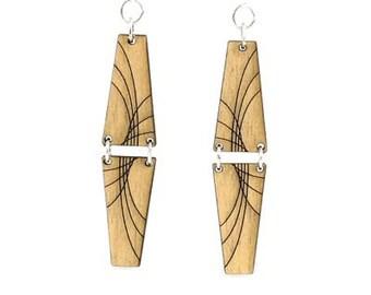 Mirror Pyramid Dangle Earrings - Laser Cut Wood