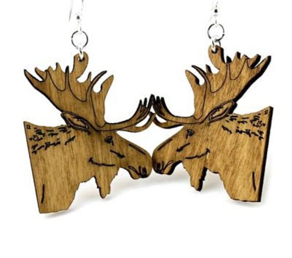 Moose Earrings from Laser Cut Wood