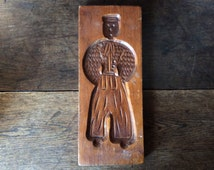 Vintage English sourced wood cookie gingerbread spekulatius mould circa 1960s / English Shop