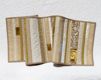 Gold and cream quilted table runner, modern patchwork table runner with gold accents