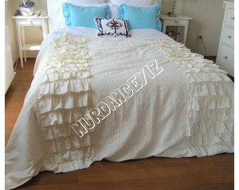 Tier Ruffled Bedding- Queen King duvet cover 120x98 -bed linen-French country farmhouse home - shabby chic beach bedding -Nurdanceyiz Turkey