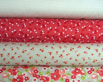 Little Ruby Bundle of 4 in Red and Gray by Bonnie & Camille for Moda