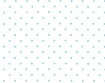 """End of Bolt 1 yard 13"""" of Essential Dots in White with Teal by Moda"""
