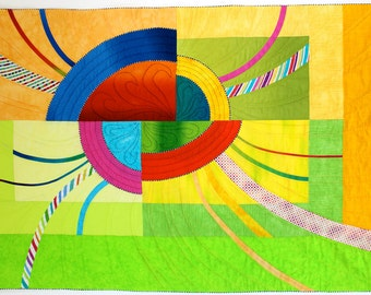 Fractured Sunrise Modern Art Quilt, Quilted Wall Hanging, Wall Decor, Fiber Art, Geometric Fiber Art, Sally Manke, Handmade Quilts for Sale