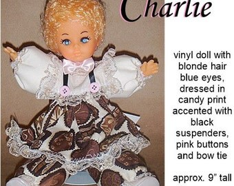 Charlie, OOAK vinyl Caucasian doll, dresses in chocolate print. Great for Christmas or Valentine's Day