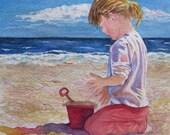 Beach Girl Print, Beach Wall Art, Girl Nursery Decor, Beach Decor, Coastal Art, Beach Painting, Nautical Watercolor, Beach Girl Red Bucket