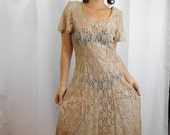 80s / 90s Floral Nude Lace Maxi Dress With Criss Cross Back