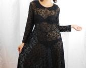 90s Floral Sheer Black Lace Dress With Peter Pan Collar Grunge Dress