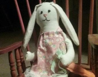 Primitive, Rabbit, Bunny, Shelf Sittter, Doll, Handmade, One of a kind, Carrot, Spring, Summer, Whimsical