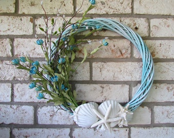 Blue Coastal Wreath with Starfish, Coral and Scallop Shells