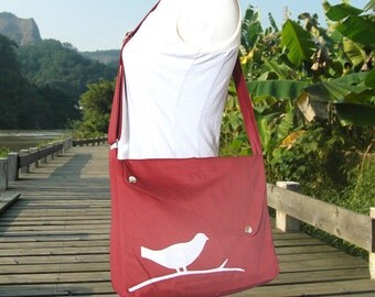 Red cotton canvas  shoulder bag, bird messenger, messenger bag, diaper bag, crossbody bag