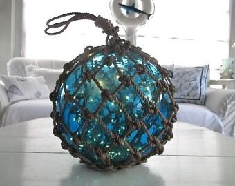 Large Vintage Turquoise Glass Japanese Fish Float, Lights, Sailors' Knots