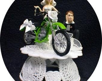 SEXY Green Kawasaki dirt Bike Off Road Motorcycle Wedding Cake topper