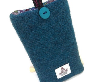 teal blue Harris Tweed iPhone SE, 5, 5S, case, tweed phone cover, made in Scotland