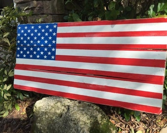 American Flag Wood Sign - Porch Wood Sign - Patriotic Wood Sign - Rustic Flag Sign - Reclaimed Wood Sign - 4th of July Decor - July fourth