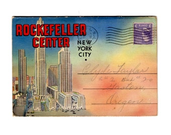 Vintage Rockefeller Center New York City Postcard Souvenir Folder