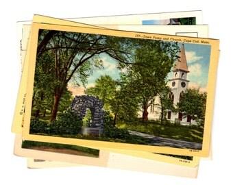 6 Vintage Cape Cod Massachusetts Unused Postcards Blank, Wedding Guestbook, Travel Journal, Scrapbooking, Collage Supplies