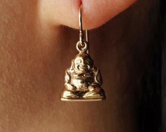 Happy Buddha Earrings Dangle Drop GIFT Natural Bronze Earrings holiday gift yoga spirit Bronze Earrings Everyday popsicledrum