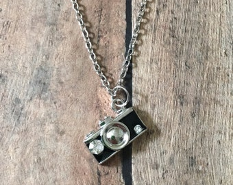 Black camera necklace