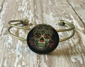 Sugar skull cuff bracelet