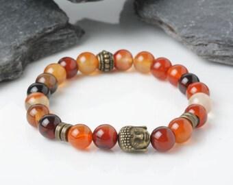 yoga bracelet, Buddha Bracelet, Carnelian stone Bracelet, Mens bracelet, Meditation bracelet, Vitality, stretch Bracelet