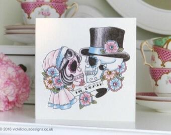 Til Death sugar skull bride & groom tattoo day of the dead anniversary card