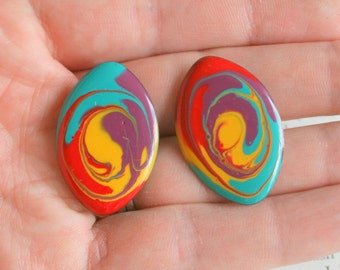 1980s SWIRL Confetti Art Earrings..rainbow. costume. 1980s glam. sexy. killer 80s. rad. rocker. punk. indie. hipster. round. confetti. paint