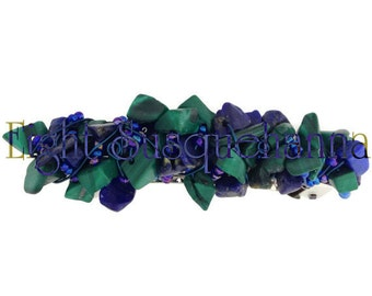 Handmade Malachite and Lapiz Lazuli Nugget Hair Barrette BA1502