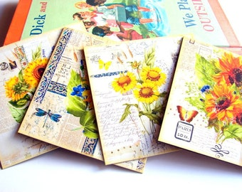 Floral Note Card Set - Sunflowers Collage Butterflies Flowers Garden Dragonfly Gardening Shabby Vintage - 4 Sm Square Greeting Cards