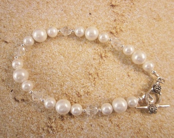 Bridal Bracelet, Sterling Silver Bracelet, White Shell Pearls and Crystals, Bride, Bridesmaid, Prom, Pageant, Party, Wedding, SRAJD