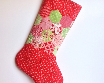 Christmas Stocking - Hand Appliqued Quilted Christmas Stocking - Hexagons - Personalized Christmas Stocking - Quilted Christmas Stocking