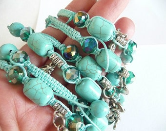 Turquoise Bracelet, Shamballa bracelet, Flower bracelet, flowers, Leaves bracelet, charm bracelet, thread bracelet, bracelet, friendship