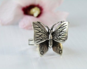 Vintage Sterling Silver Figural Butterfly Ring Size 6.5