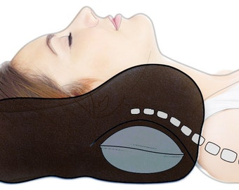 Small Black Best Chiropractic Neck Pillow for Travel, Extra Cervical Support for Airplane, Train, Bus, Car