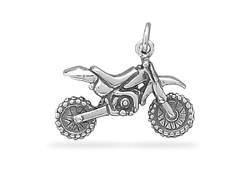 sterling silver dirt bike motorcycle charm pendant 3d