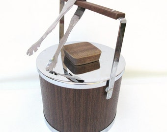 Vintage Ice Bucket, Retro Barware, Metal Ice Tongs, Kromex Ice Bucket with Lid,