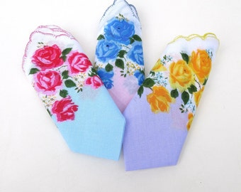 Vintage Hankies, Handkerchief Set, Floral Hankies, Yellow Blue Pink Rose Fabric - Set of 3