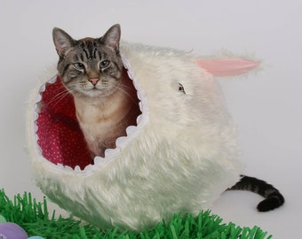 Vorpal Rabbit Easter Bunny White Faux Fur Cat Ball Cat Bed, a Fantasy Cat Bed, a Monster Cat Bed