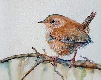 New year wren, watercolor,gift for birdlover
