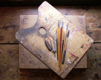Vintage Artist's Paint Box with Rectangular Palette, Brushes, and Tools