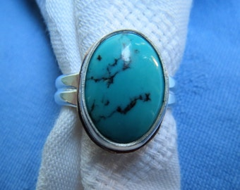 Natural Turquoise in Argentium Silver Ring Size 11 & a Quarter