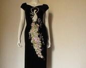 Vintage Beaded Peacock Silk Velvet  Ao dai  Vietnamese Dress high slits sm.