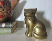 Vintage Brass Cat Figure, Home Decor