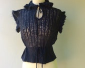 CLEARANCE ITEM - Navy Blue Wool Vintage Ruffle Color Short Sleeve Sweater // Size Sm- Med
