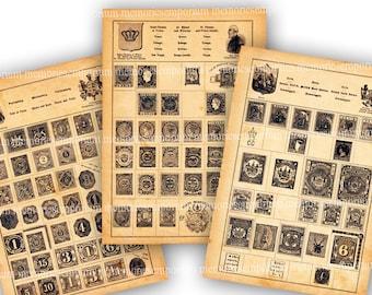 Vintage Postage Stamp Album Pages Antique Postal Ephemera Digital Downloads for Decoupage Backgrounds Journals Scrapbooking Shabby Chic 794